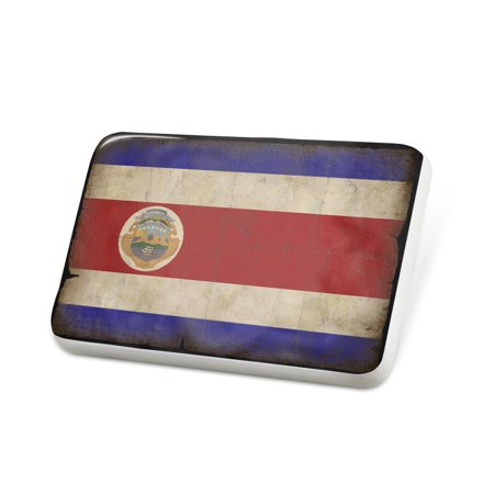 Porcelein Pin Costa Rica Flag with a vintage look Lapel Badge – NEONBLOND