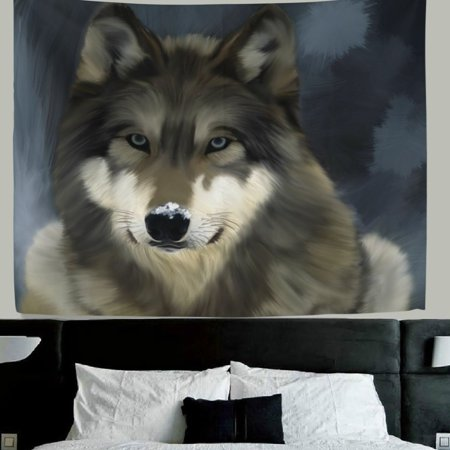 POPCreation Wolf wall decor Art Painting Wolf Fabric Tapestry Throw Dorm bedroom Art Home Decor Tapestry Wall Hanging 40x60 inches