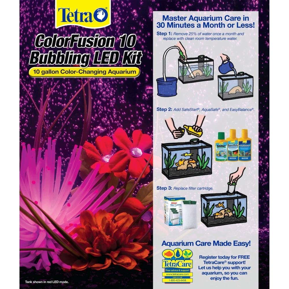 Tetra ColorFusion 10 Gallon Glass Bubbling LED Kit with Accessories ...