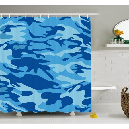 Camouflage Shower Curtain Abstract Camo Navy Military Costume Concealment From The Enemy Hiding Fabric