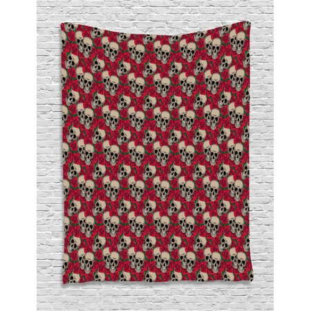 Halloween Wall Hanging Patterns (Rose Tapestry, Graphic Skulls and Red Rose Blossoms Halloween Inspired Retro Gothic Pattern, Wall Hanging for Bedroom Living Room Dorm Decor, 40W X 60L Inches, Vermilion Tan Green, by)