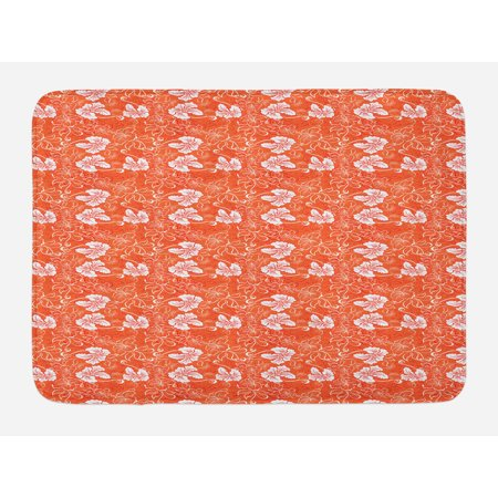 Burnt Orange Bath Mat Hawaiian Hibiscus Pattern With
