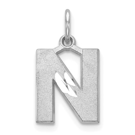 Solid White Letters (14kt White Gold Solid Initial Monogram Name Letter N Pendant Charm Necklace Fine Jewelry Ideal Gifts For Women Gift Set From)