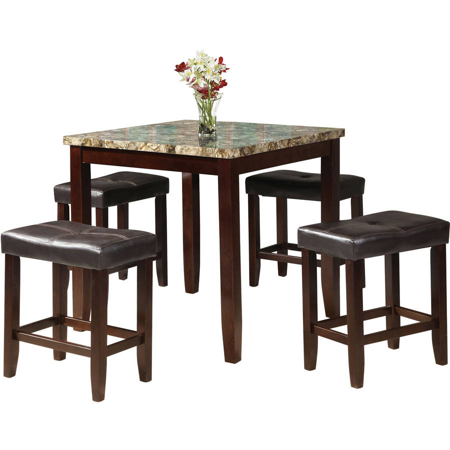 Acme Rolle 5 Piece Counter Height Dining Set Faux Marble