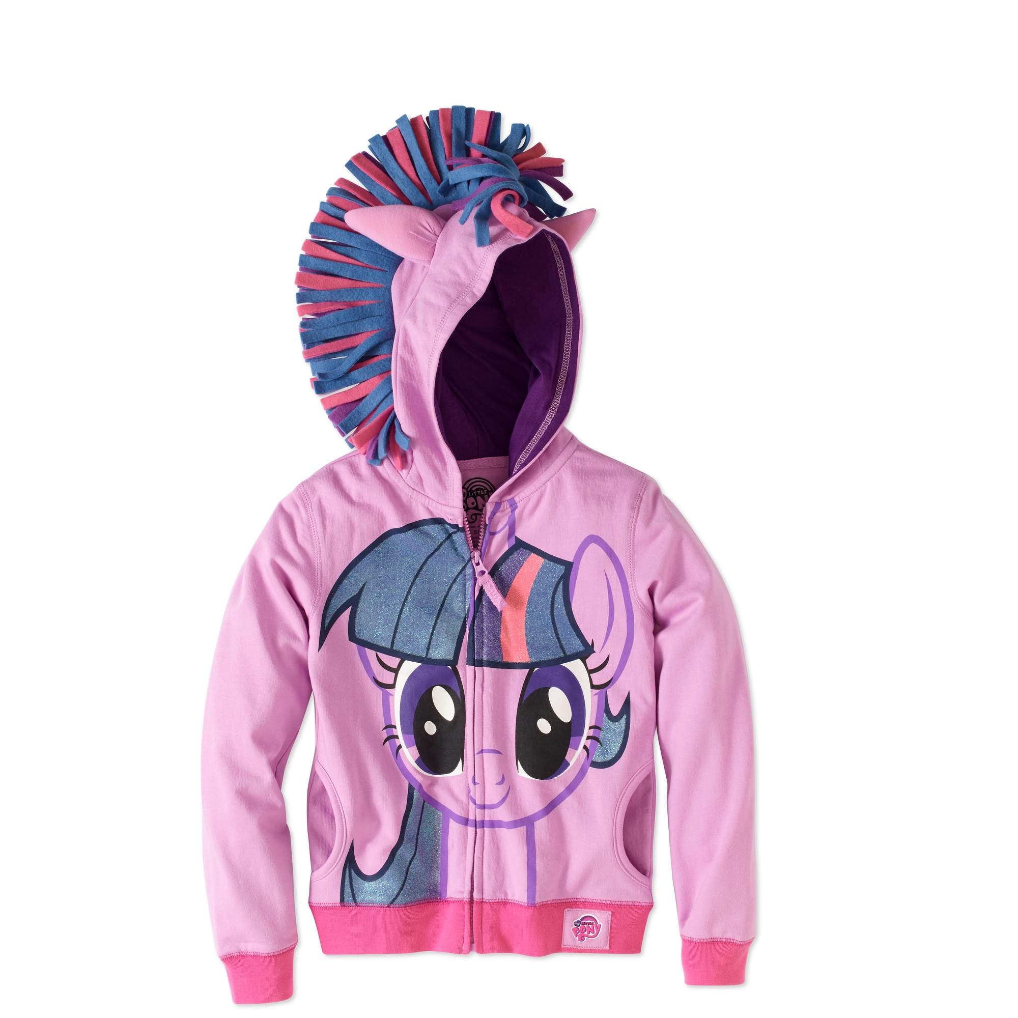 My Little Pony Girls' Twilight Sparkle Fleece Graphic Costume Hoodie With 3D Wings on Back