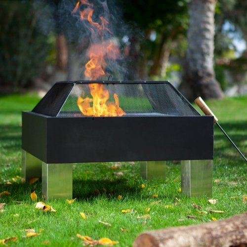 Fire Sense Square Hotspot Fire Pit with Cooking Grate and FREE Cover