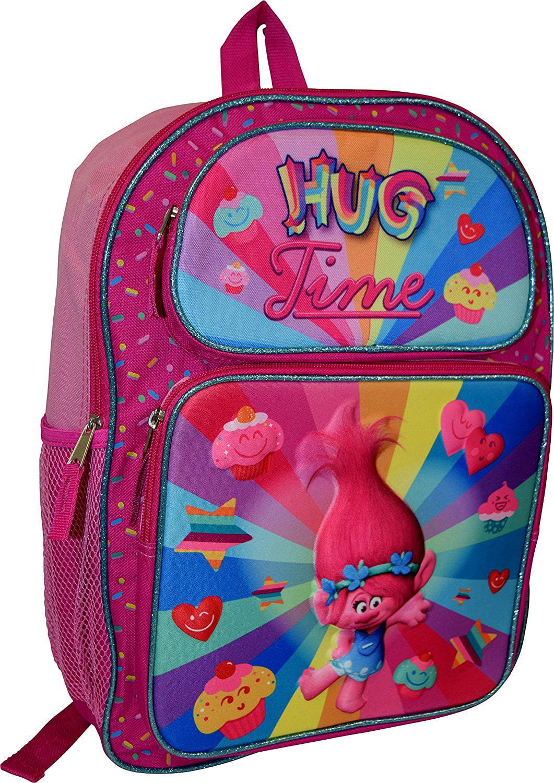 """Dreamworks Trolls Poppy 18/""""  Rolling School Backpack NEW"""