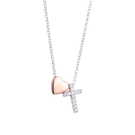 Two-Tone Sterling Silver CZ Cross & Heart Slider Pendant Necklace