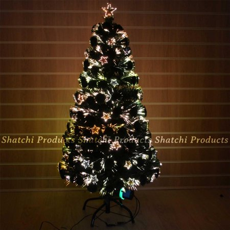 6ft pre let light up star fibre optic christmas tree prelit xmas decor 180cm