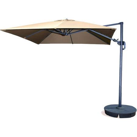 Image of Santorini II 10-ft Square Cantilever Umbrella in Beige Sunbrella Acrylic with Base