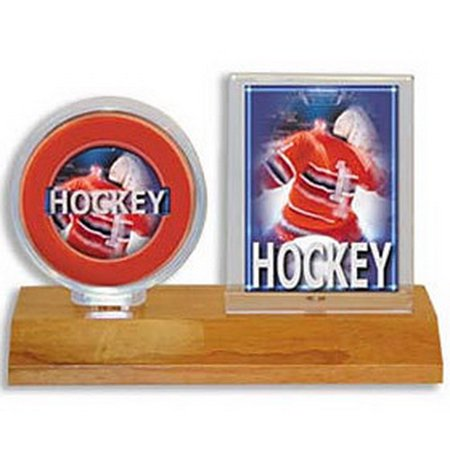 Ultra Pro 7442781213 Hockey Puck  Card Holder - Wood Base