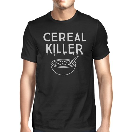 365 Printing Cereal Killer T-Shirt Mens Black Funny Graphic Halloween Tee Shirt