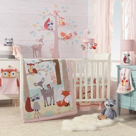 Lambs & Ivy Little Woodland 4-Piece Crib Bedding Set - White, Coral, Animals