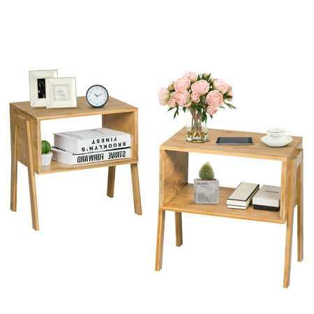 Costway Set of 2 Bamboo Nightstand Stackable Sofa Table Bedside Table with Storage Shelf ()