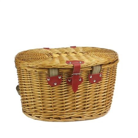 4 Person Hand Woven Honey Willow Striped Picnic Basket Set With Accessories