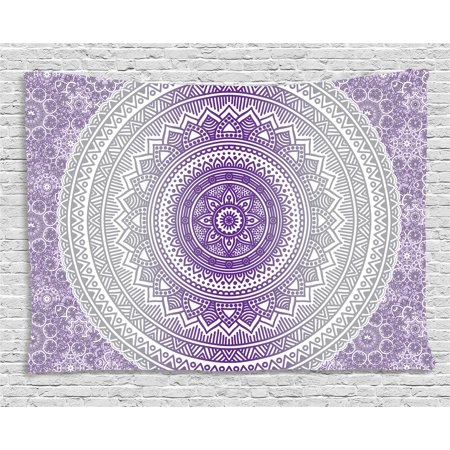 Grey and Purple Tapestry, Eastern Traditional of Cosmos Pattern Zen Boho Ombre Mandala Design Print, Wall Hanging for Bedroom Living Room Dorm Decor, 60W X 40L Inches, Purple White, by Ambesonne - Print Mandala