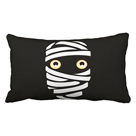 WinHome Cute Funny Vintage Happy Halloween Vampire Mummy Gifts Decor Polyester 20 x 30 Inch Rectangle Throw Pillow Covers With Hidden Zipper Home Sofa Cushion Decorative Pillowcases