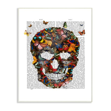 The Stupell Home Decor Collection Dark Rainbow Skull of Butterflies on a Book Page Oversized Wall Plaque Art, 12.5 x 0.5 x 18.5](Face Painting Rainbow Butterfly)