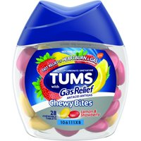 TUMS Chewy Bites Antacid with Gas Relief, Lemon Strawberry Hard Shell Chews for Heartburn + Gas Relief, 28 Antacid Chews
