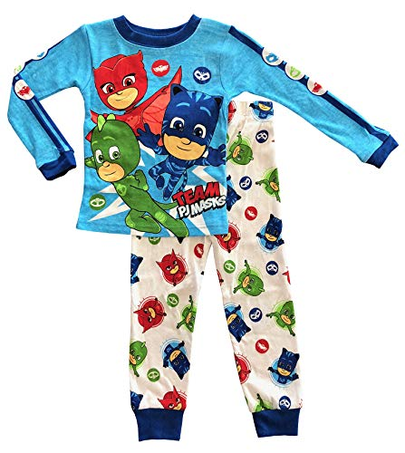 AME PJ Masks Long Sleeve Toddler Boy Cotton Tight Fit Pajamas (3T)