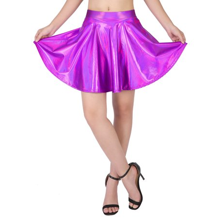 HDE Women's Shiny Liquid Metallic Holographic Pleated Flared Mini Skater Skirt (Fuchsia, XX-Large) - image 2 of 6