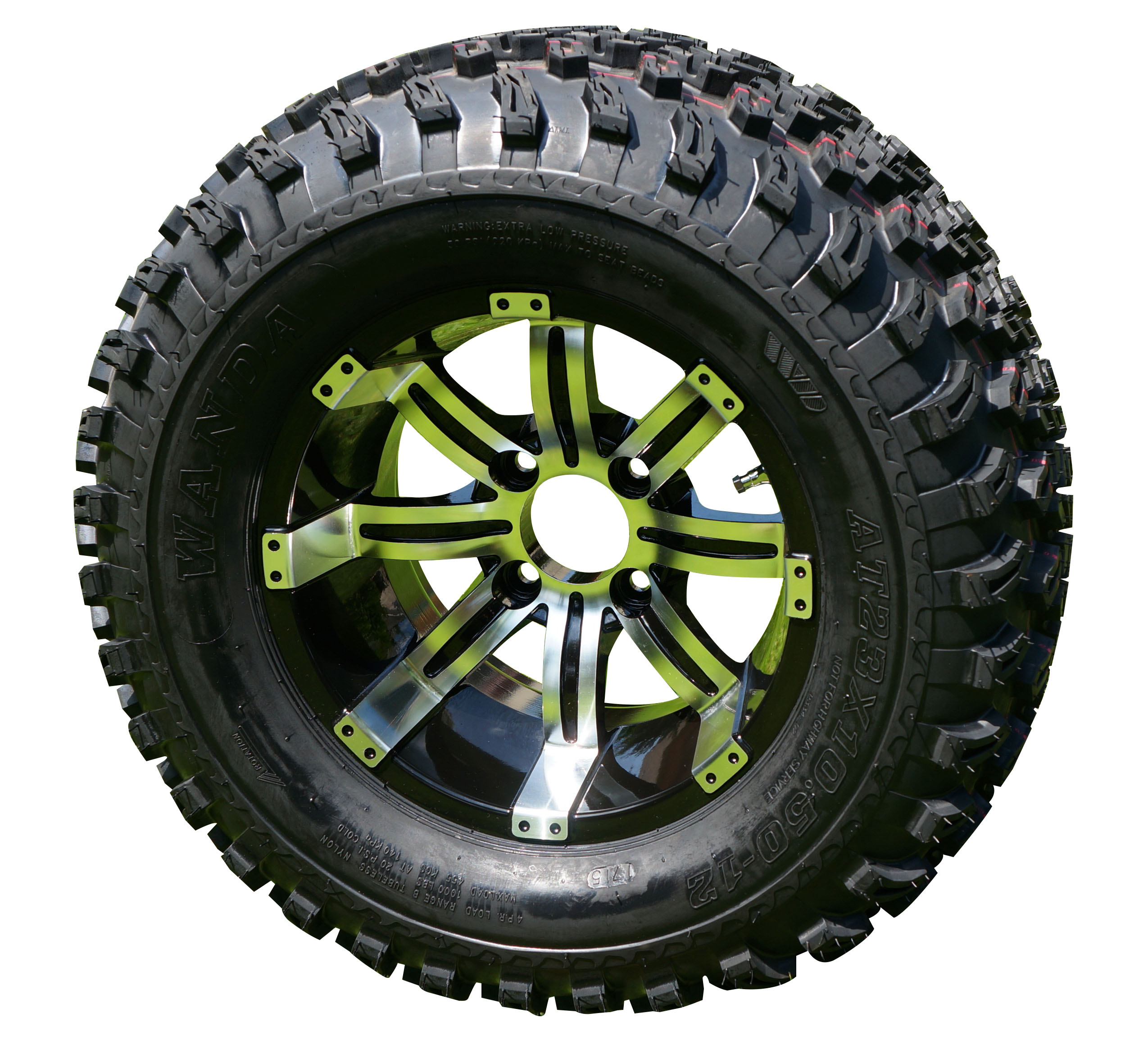 "12"" Tempest Black and Machined Golf Cart Wheels with 23"" Lifted Tire Combo"