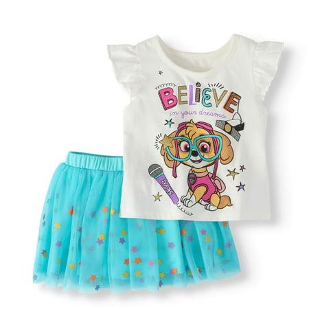 Cargo Girls Skirt - Toddler Girl T-Shirt & Scooter Skirt, 2Pc Outfit Set