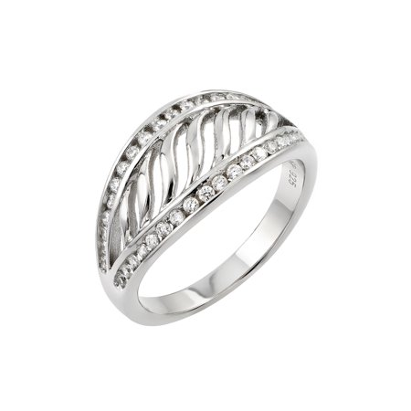 Inlay Filigree (925 Sterling Silver Ladies Jewelry Ring w/ Filigree Design And Clear Cubic Zirconia Inlay.Ring Width Is 10mm  Come In Sizes Of 5, 6, 7, 8, And)