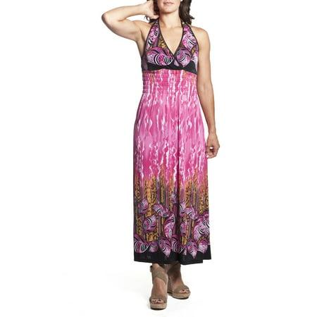 7b71d41e7e2 2 Women s Tie-Neck Halter Maxi Dress Full-Length Sundress Tropical ...