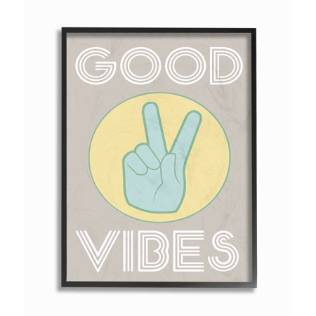 The Stupell Home Decor Collection Good Vibes Peace Hand Oversized Framed Giclee Texturized Art, 16 x 1.5 x 20