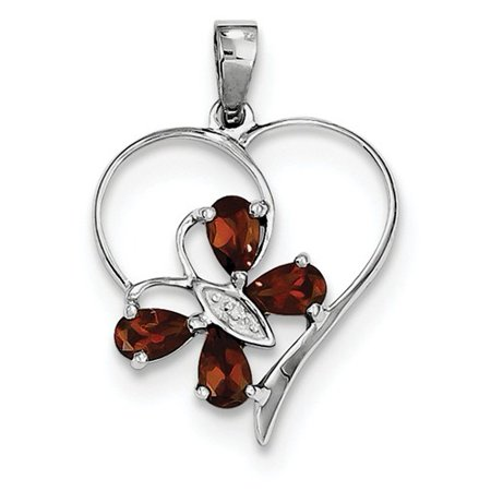 January Birthstone Pendant (Sterling Silver Rhodium Garnet & Diamond Butterfly Heart Pendant Gem Wt-)