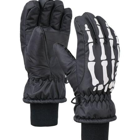 ANDORRA Boys or Girls Glow in the Dark Thinsulate Waterproof Ski Gloves, Skeleton,S