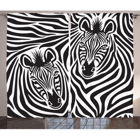 Safari Decor Curtains 2 Panels Set, Couple Of Zebras Eyes Face Heads Closeup Image Pattern Artistic Design Decorative Art, Living Room Bedroom Accessories, Gift Ideas, By Ambesonne - Safari Ideas