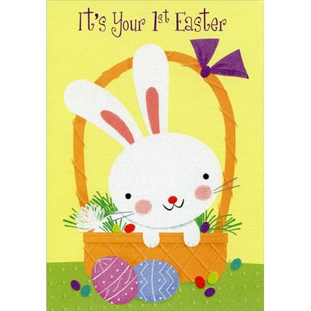 Designer Greetings First / 1st Easter Cute Baby Bunny in Basket Easter Card - Toddler Easter Basket