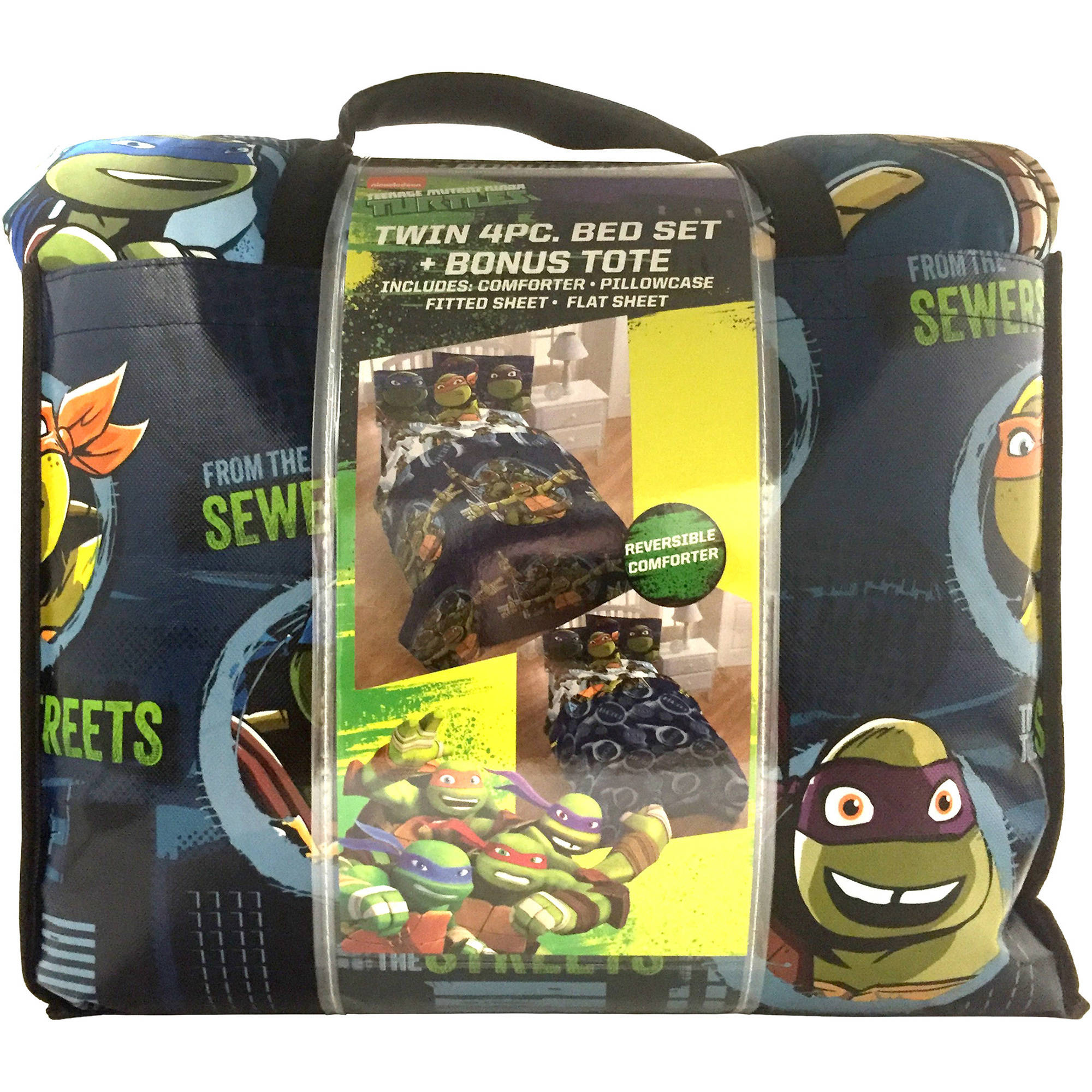 Nickelodeon Age Mutant Ninja Turtle Bed In A Bag 5 Piece Bedding Set With Bonus Tote