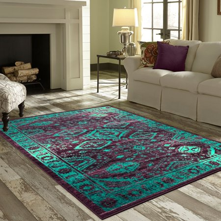 Mainstays Global Arya Nylon Textured Print Area Rug or Runner