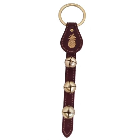 Belsnickel Pineapple Charm Burgundy Leather Sleigh Bell Door Hanger Made in - Door Charms