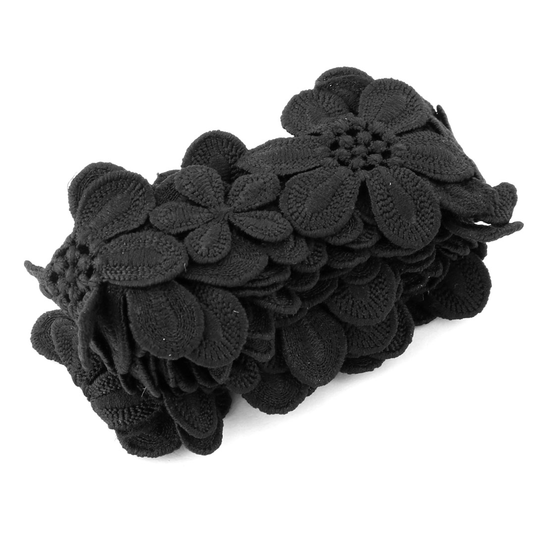 Home Polyester Embroidery Clothes Decor Sewing Lace Trim Craft Black 2.2 Yards