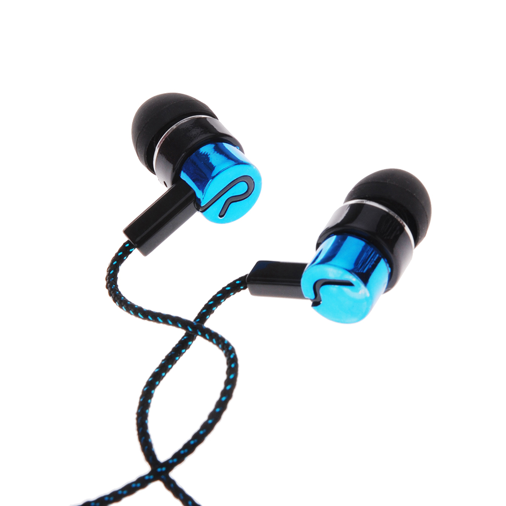 1.1M Reflective Fiber Cloth Line Noise Isolating Stereo In-ear Earphone Earbuds Headphones with 3.5 MM Jack Standard
