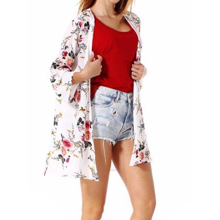 Lightweight Cover Up - LELINTA Junior's Trim Summer 3/4 Sleeve Cardigans Long Lightweight Chiffon Floral Cape Shirt Shawl S/2XL Bikini Coverup