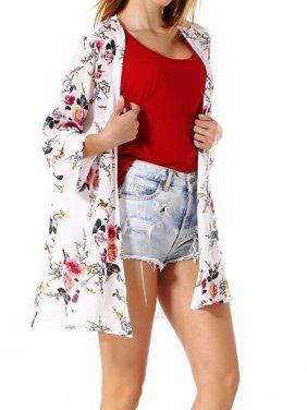 LELINTA Junior's Trim Summer 3/4 Sleeve Cardigans Long Lightweight Chiffon Floral Cape Shirt Shawl S/2XL Bikini Coverup