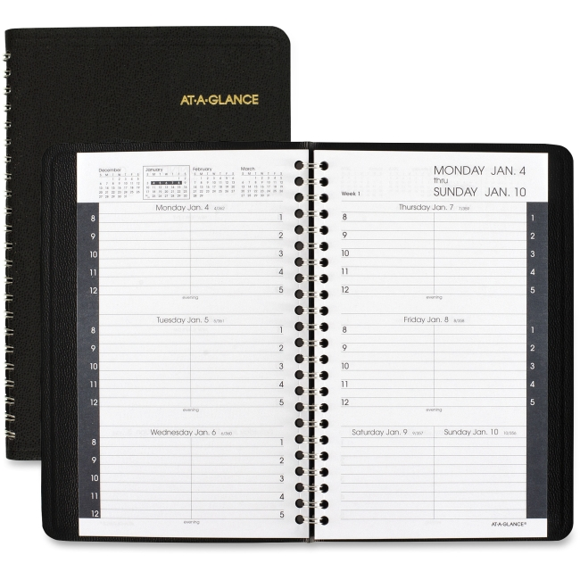 "At-A-Glance Weekly Appointment Book - Weekly - 1 Year - January 2018 till December 2018 - 8:00 AM to 5:00 PM - 1 Week Double Page Layout - 4.87"" x 8"" - Black - Leather - Pocket, Notepad"