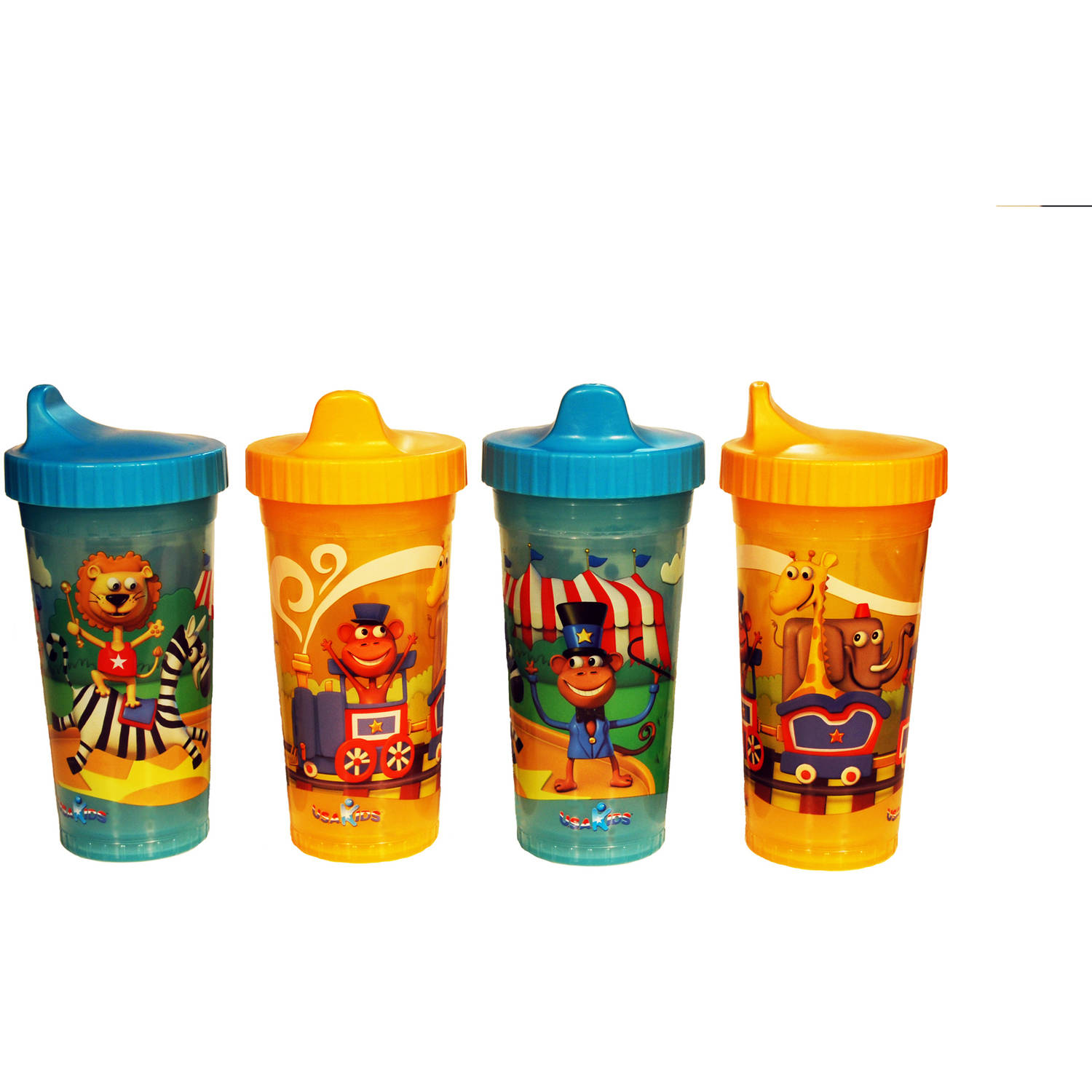 USA Kids - Circus Insulated BPA-Free Sippy Cups, 4-Pack