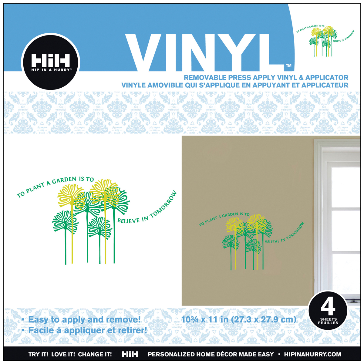 Hip In A Hurry Vinyl Paint Rub-Ons 10.75 Inch X 11 Inch-Plant Tomo