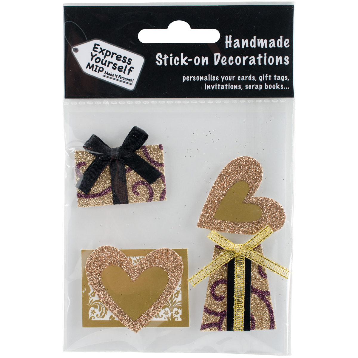 Express Yourself MIP 3D Stickers-Gold Hearts & Gifts