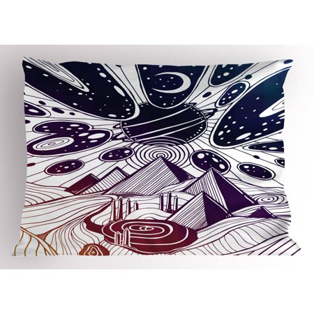 Abstract Pillow Sham, Dream Desert Landscape with Surreal Sky Planets Meteors and Pyramids Print, Decorative Standard Queen Size Printed Pillowcase, 30