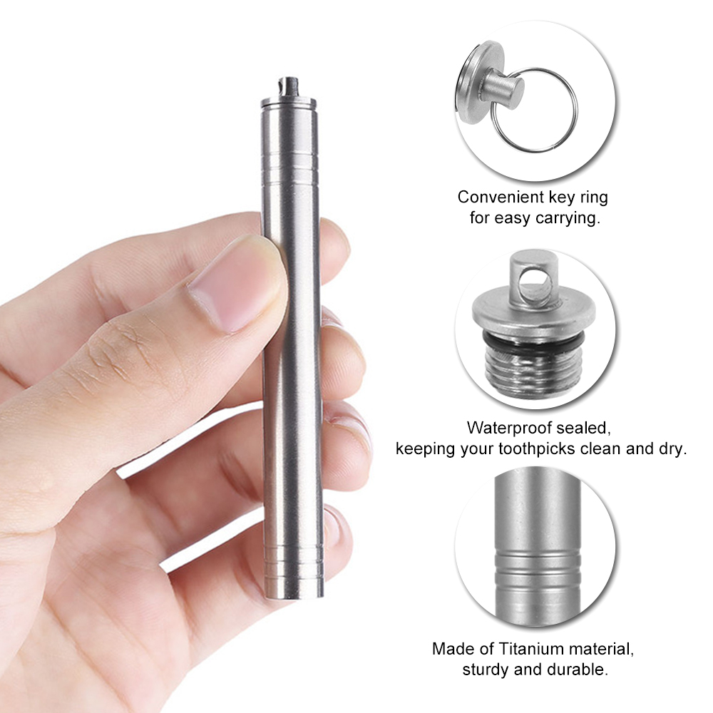 Pocket waterproof titanium alloy toothpick with holder outdoor traveling too L1F
