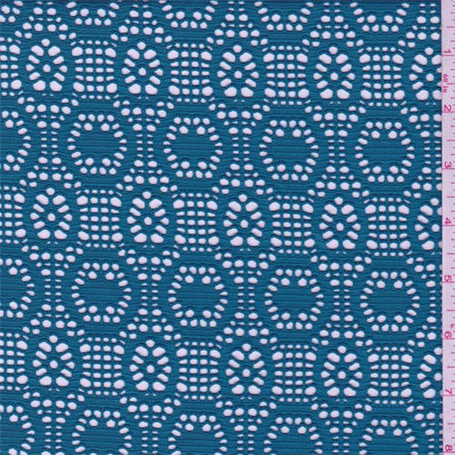 Teal Blue Circular Stretch Lace, Fabric By the Yard