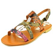 Womens Barking Strappy Flat Sandals - Anemone/Bark/Tomato