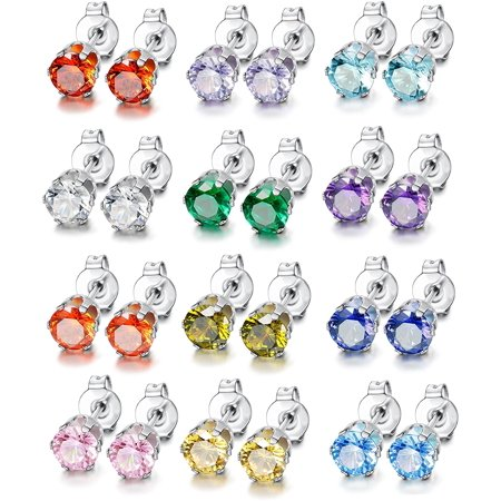 Jicidcha 12 Pairs Stainless Steel Brilliant Cut Round Cubic Zirconia Birthstone Stud Earrings for Women - image 1 of 6